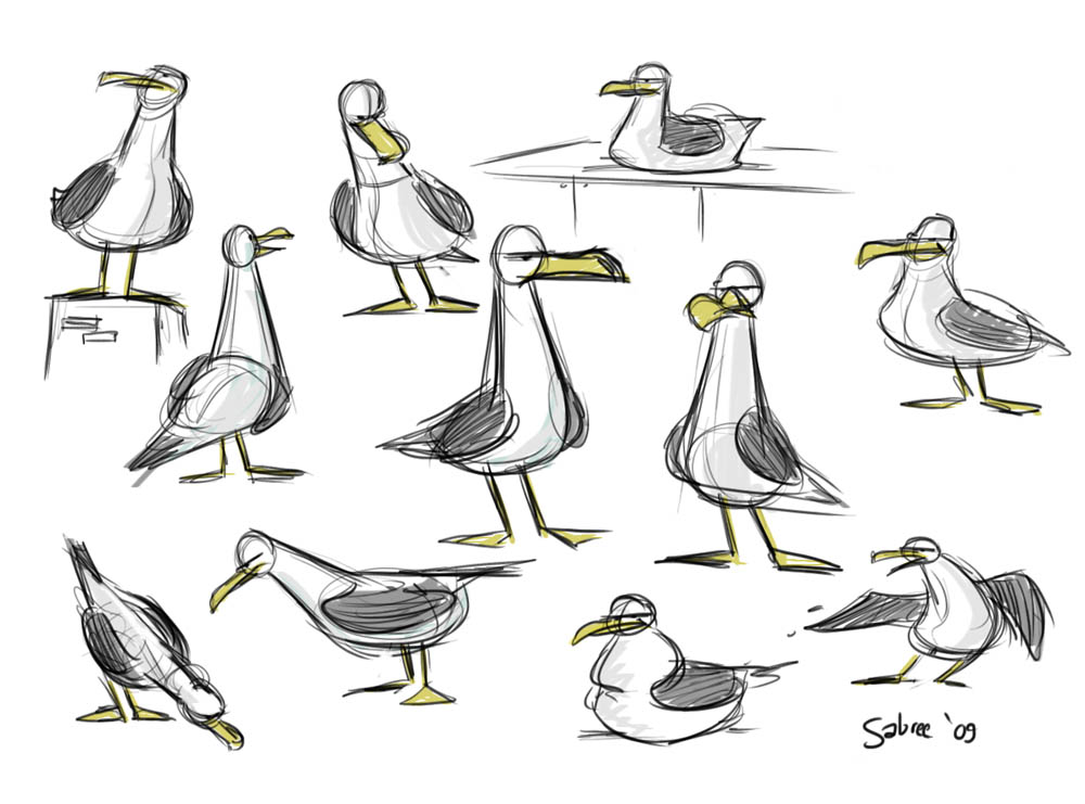 how to draw a seagull minimalist