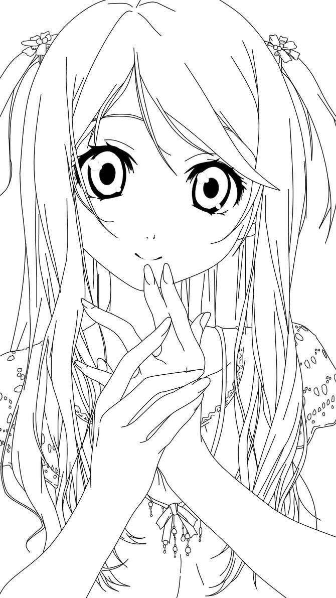 Anime Girl Lineart : Adorable anime girl lineart by salamandershadow on deviantart