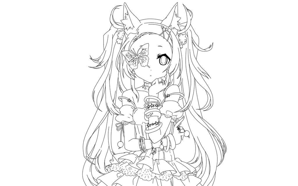 Neko Lineart : Neko butterfly lineart by salamandershadow on deviantart