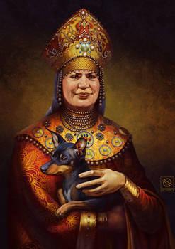 Russian woman with a Miniature Pinscher