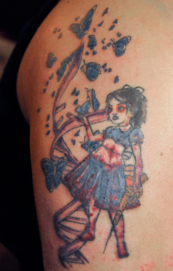 Little sister bioshock tattoo session 3 by xenohm on for Big sister and little sister tattoos