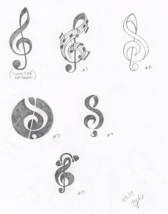 Treble Clef Logo Sketches by MelodyNieves