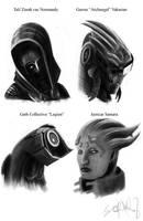ME2 Portrait Sketches by RiptideX1090