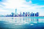Blue New York Skyline Photoshop Painting by jemberklaas