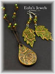 Golden forest pendant and earrings