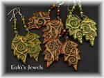 Spiral forest leaves earrings