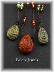 Old spiral pebble necklaces by Shatiel85