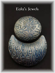 Polymer clay silver brooches by Shatiel85