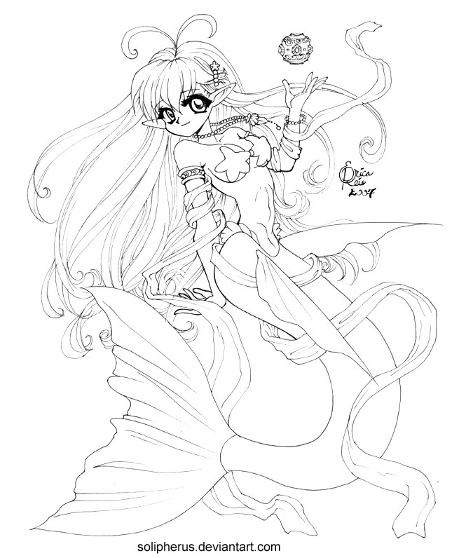 anime mermaids coloring pages-#12