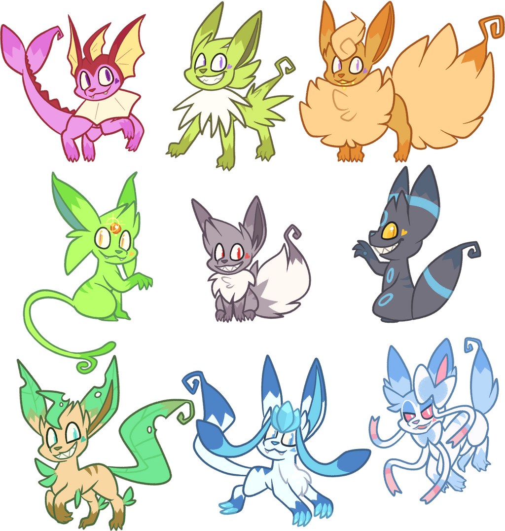 Eevee Evolutions Coloring Page