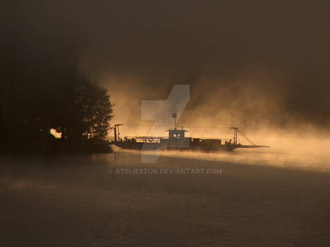 Ferry in the morning fog
