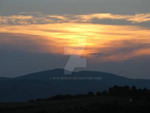 Sunset in village Sutovce