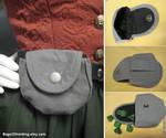 One Slot Gray Linen Belt Pouch by Verdaera