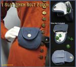 One Slot Blue Linen Belt Pouch