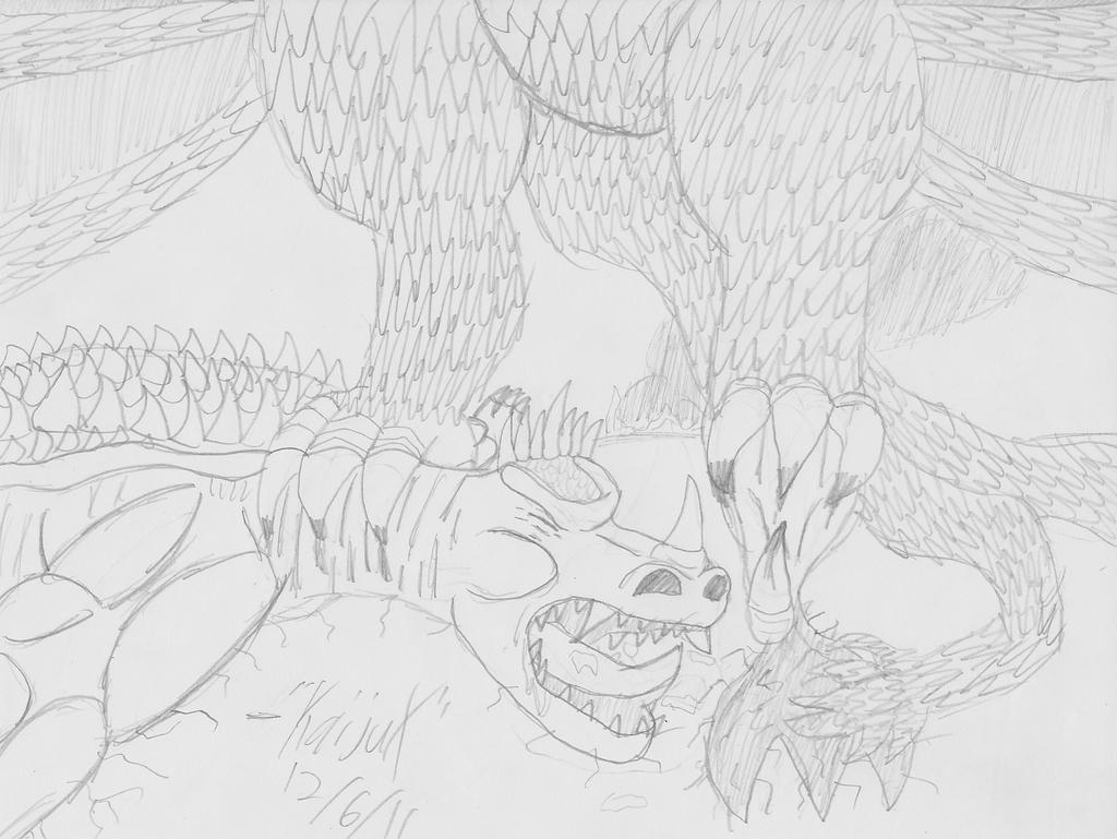 anguirus vs  king ghidorah by kaijux on deviantart