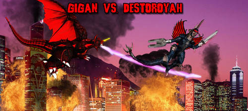 KWC - Gigan vs. Destoroyah by KaijuX