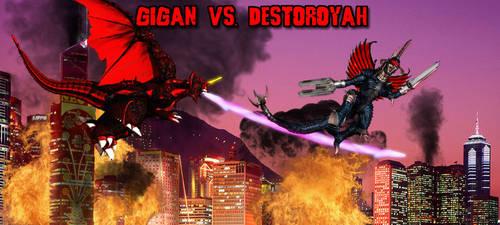 KWCB - Gigan vs. Destoroyah by KaijuX