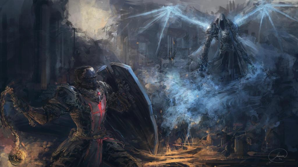 Death vs Crusader - Reaper Of  Souls by JasonTN