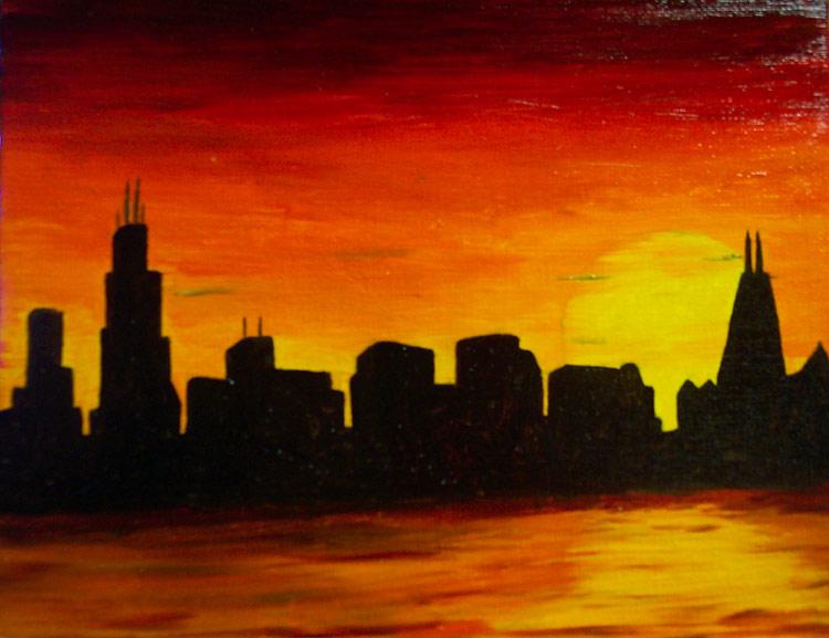 Chicago Skyline At Sunset By VasiliZ