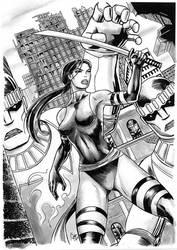 Psylocke pursued by Sentinels by rodstella