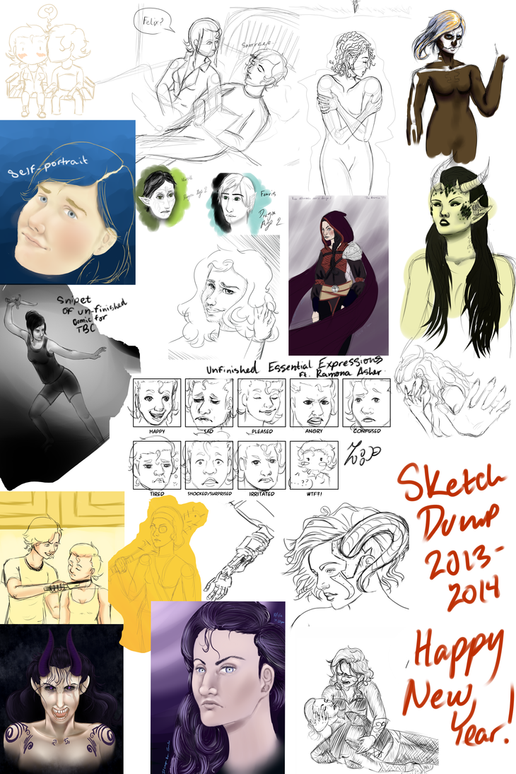 Sketch Dump 2014 (and a Little from 2013) by ZannaCox