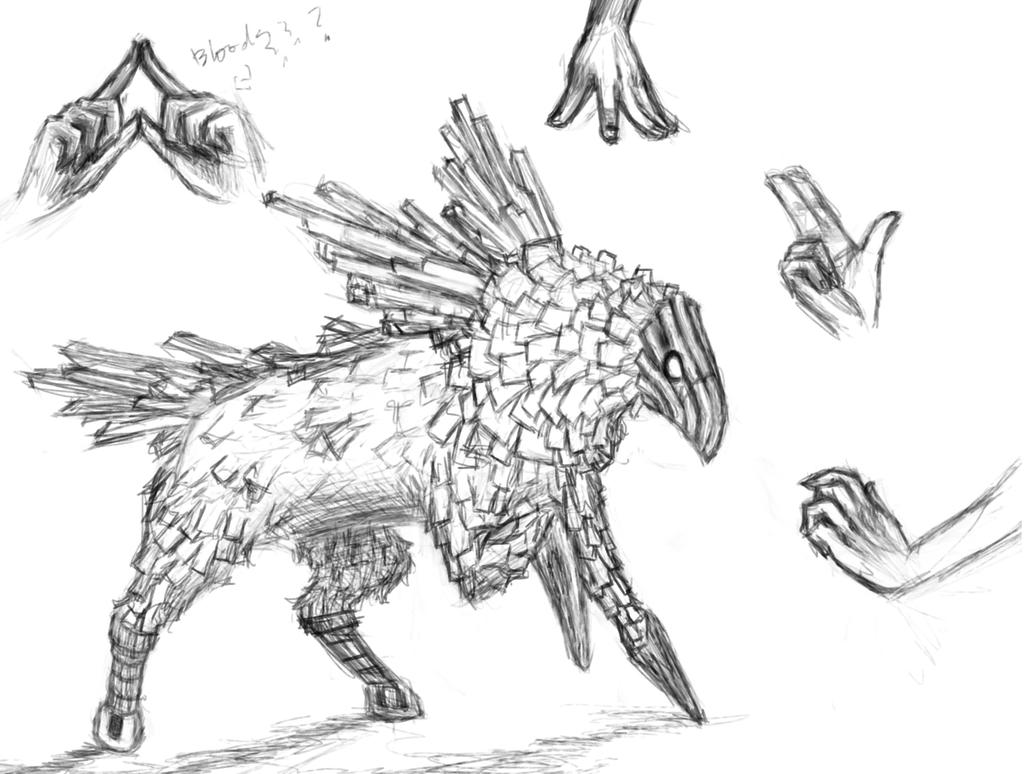 Sketch: Griffin and hands by Luccccccccerina
