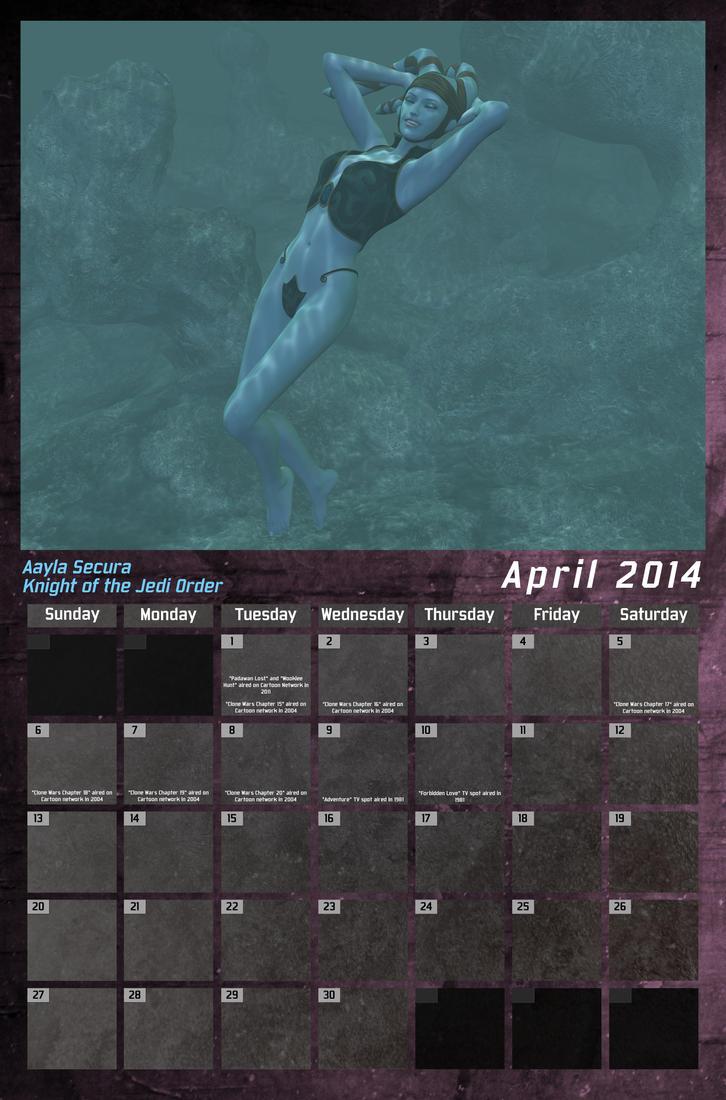 Star Wars Swimsuit Calendar 2014 - April by Crimsonight