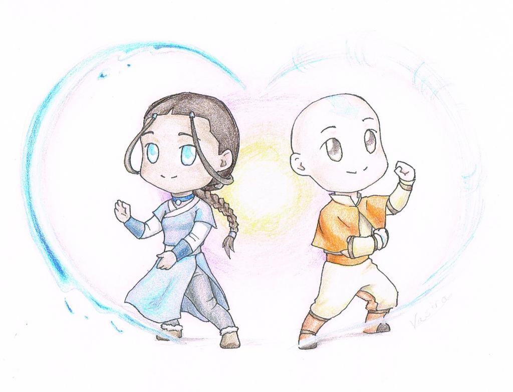Chibi Valentine_ Aang and Katara by vasira