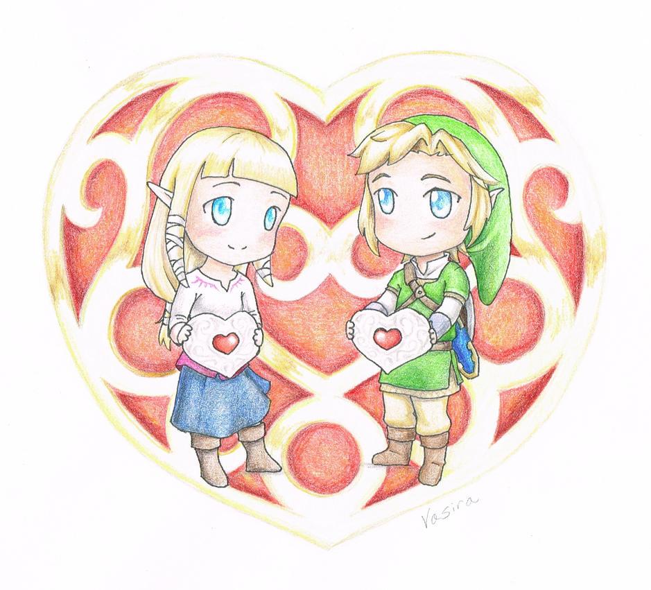 Chibi Valentine_ Link and Zelda by vasira