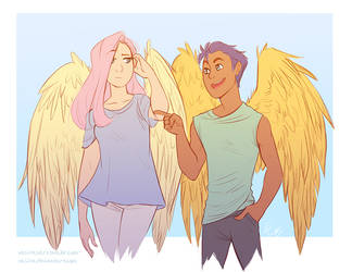 Commission: Fluttershy and Flash Sentry by vasira