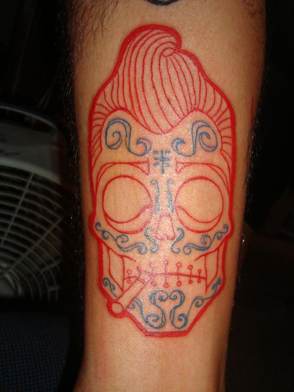 mexican rockabilly skull by piglegion on deviantart. Black Bedroom Furniture Sets. Home Design Ideas