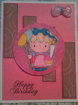 Happy Birthday Pink and Brown Handmade Card