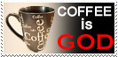 Coffee Is God Stamp by Carthoris