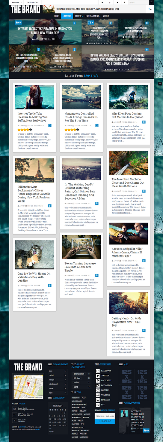 Brand: Magazine  News Wordpress Theme by bbosa