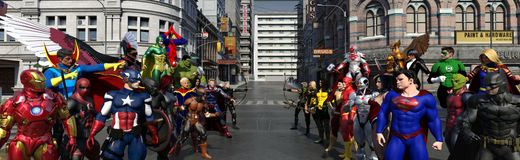 Justice League vs Avengers  by Kirtemor