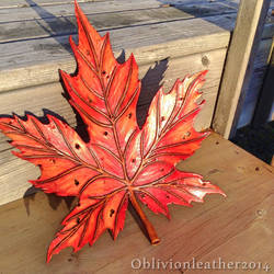 Autumn Maple wall plaque (3 of 3) by Oblivionleather76