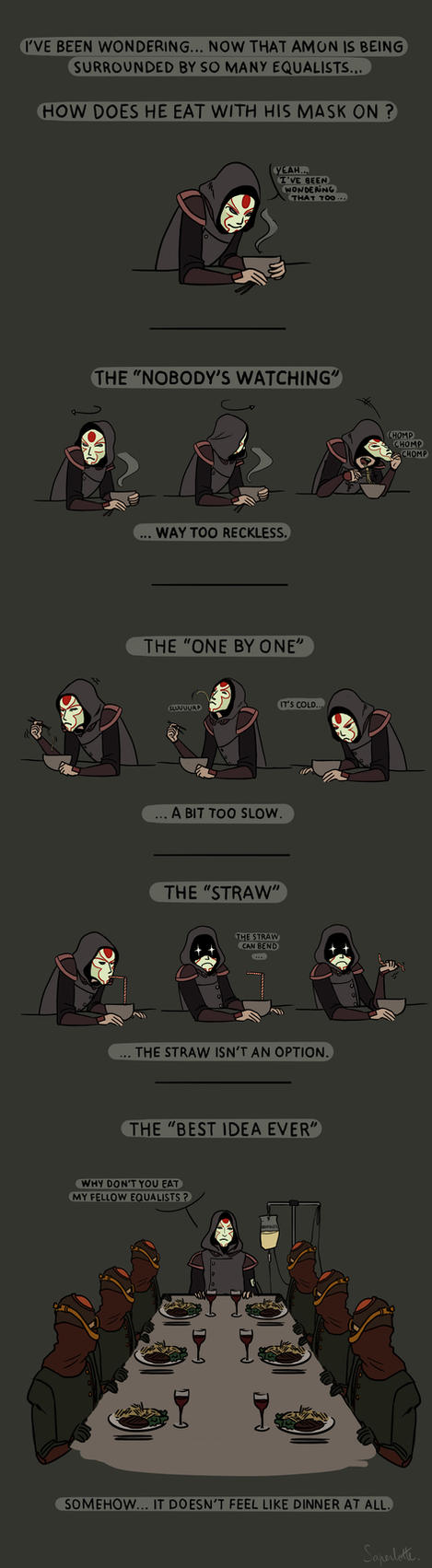 Amon's secret eating techniques by Saperlotte