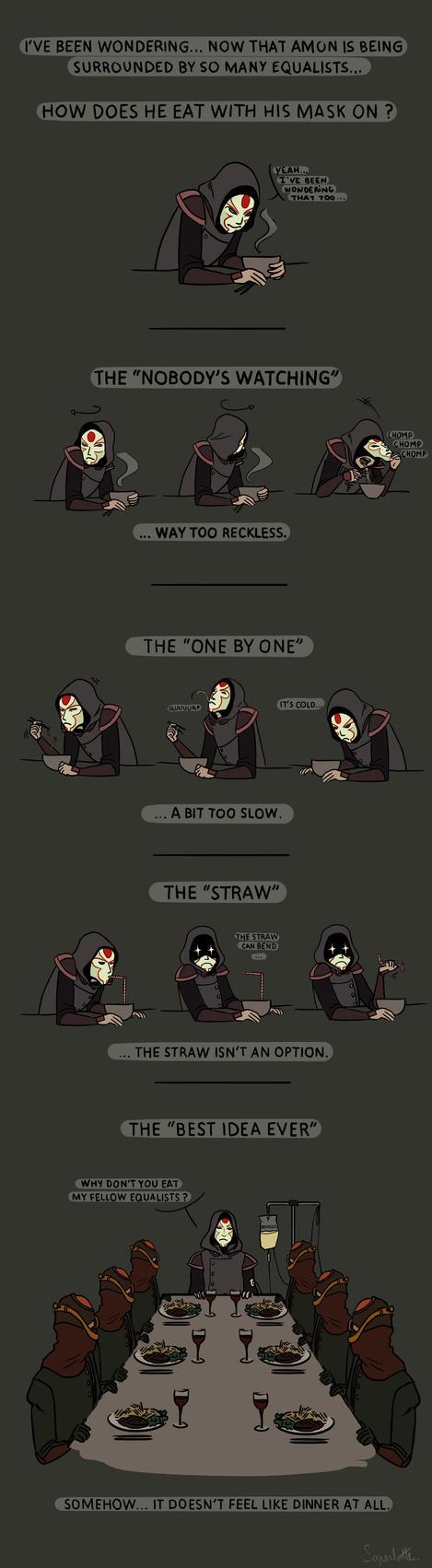 Amon's secret eating techniques by Saperlotte