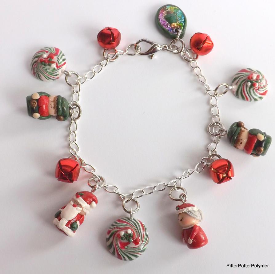 Polymer Clay Charm Bracelet: Santa Chibi Charm Bracelet Polymer Clay Charms By
