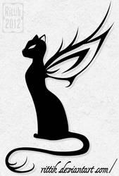 Winged cat tattoo