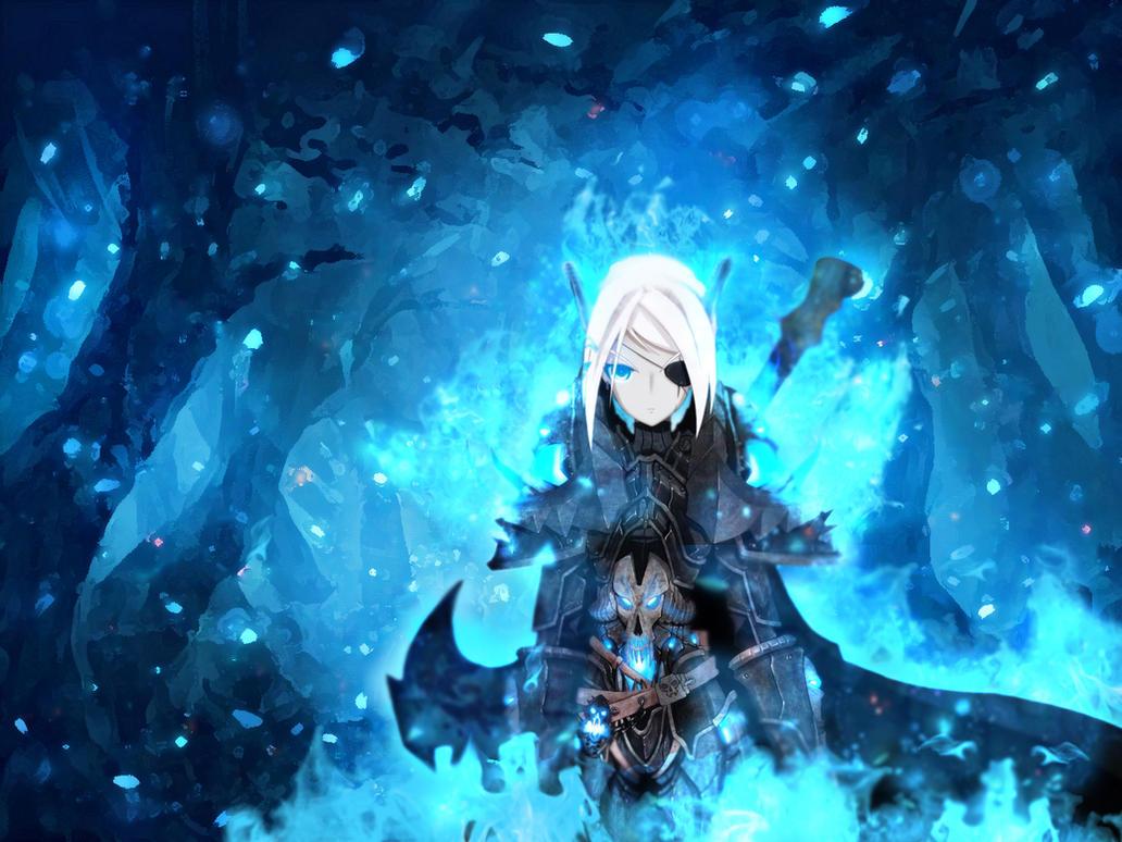 Blue Flames Dark knight Girl Anime Wallpaper by kirigawakazuto