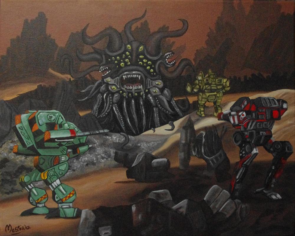Mech Warrior vs. Lovecraft by miz-mezzy
