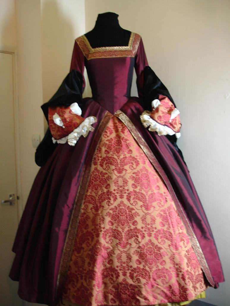 Tudor gown red by zarrinabull on deviantart for Tudor style wedding dress