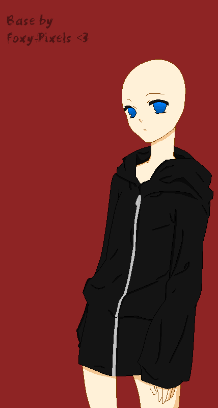 Hoodie Base by foxy-pixels on DeviantArt Anime Female Base With Hoodie