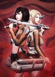 Mikasa vs. Annie by MeTaa