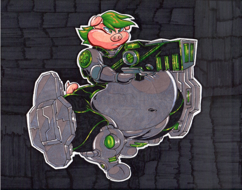 XZ1. Space Marine Pig. Marker Coloring. by Virus-20