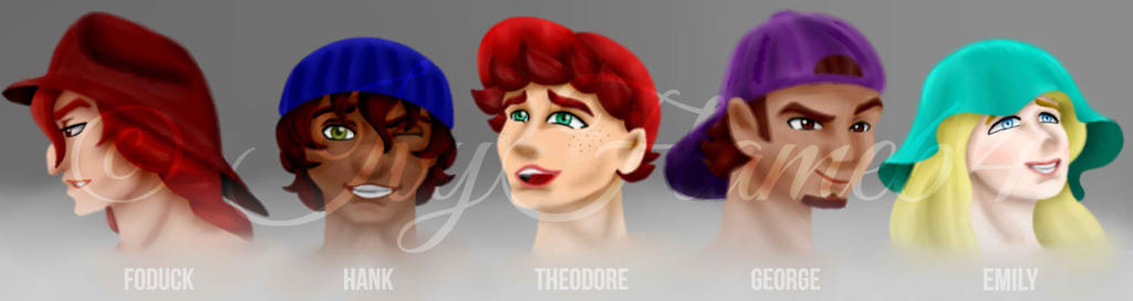 Theodore and his friends as humans