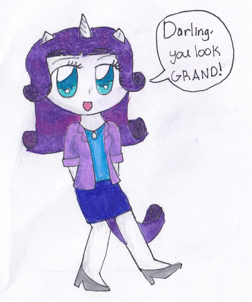 Rarity semi-human by timelordponygirl