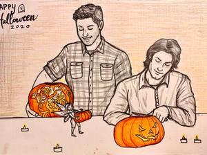 Jon, Sylvia, Cliff carve pumpkins - Halloween2020