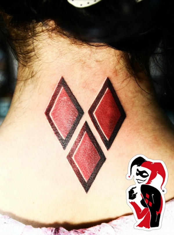 Harley Quinn Diamonds Heart Tattoo by JasDisney